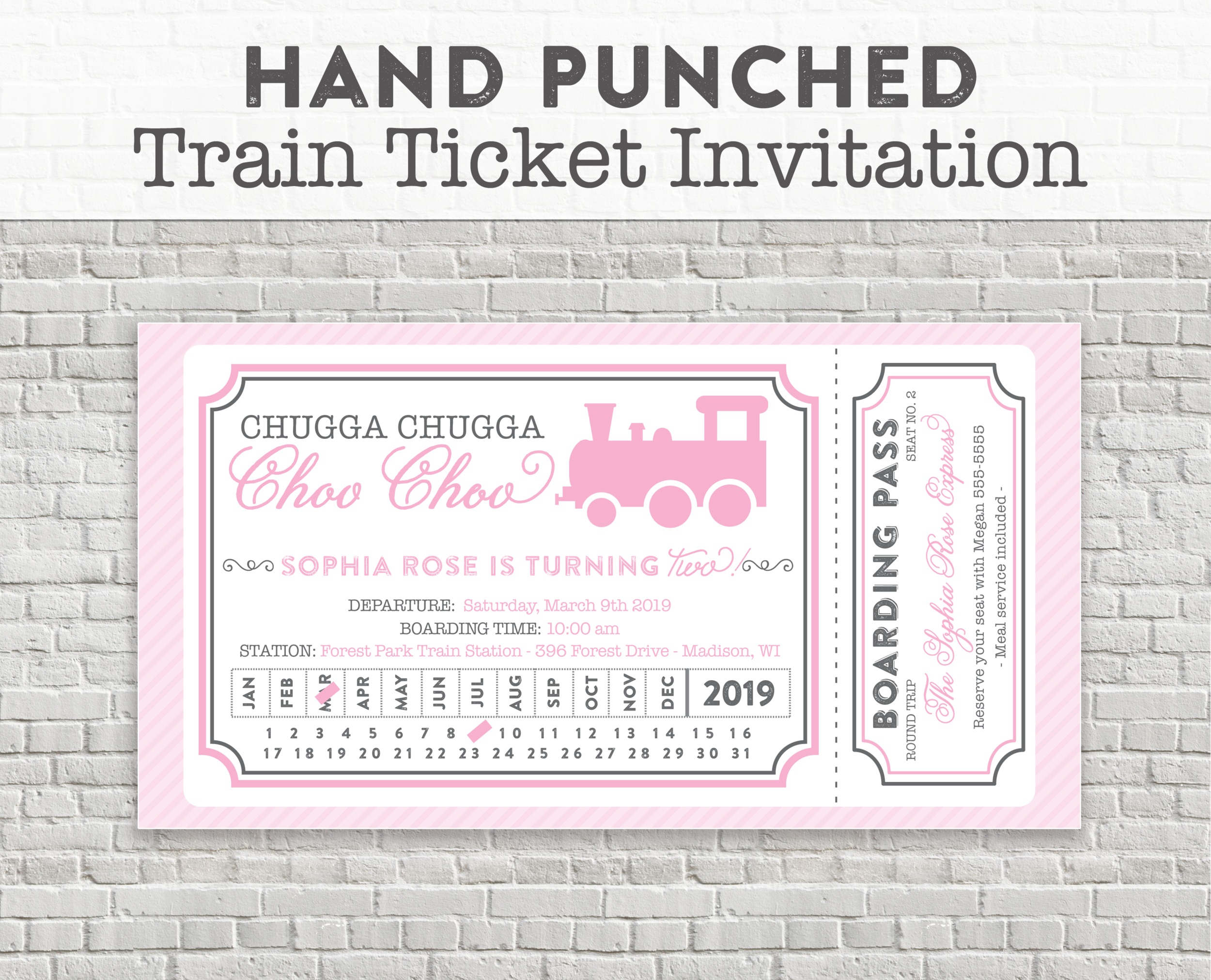 pink train party invitation