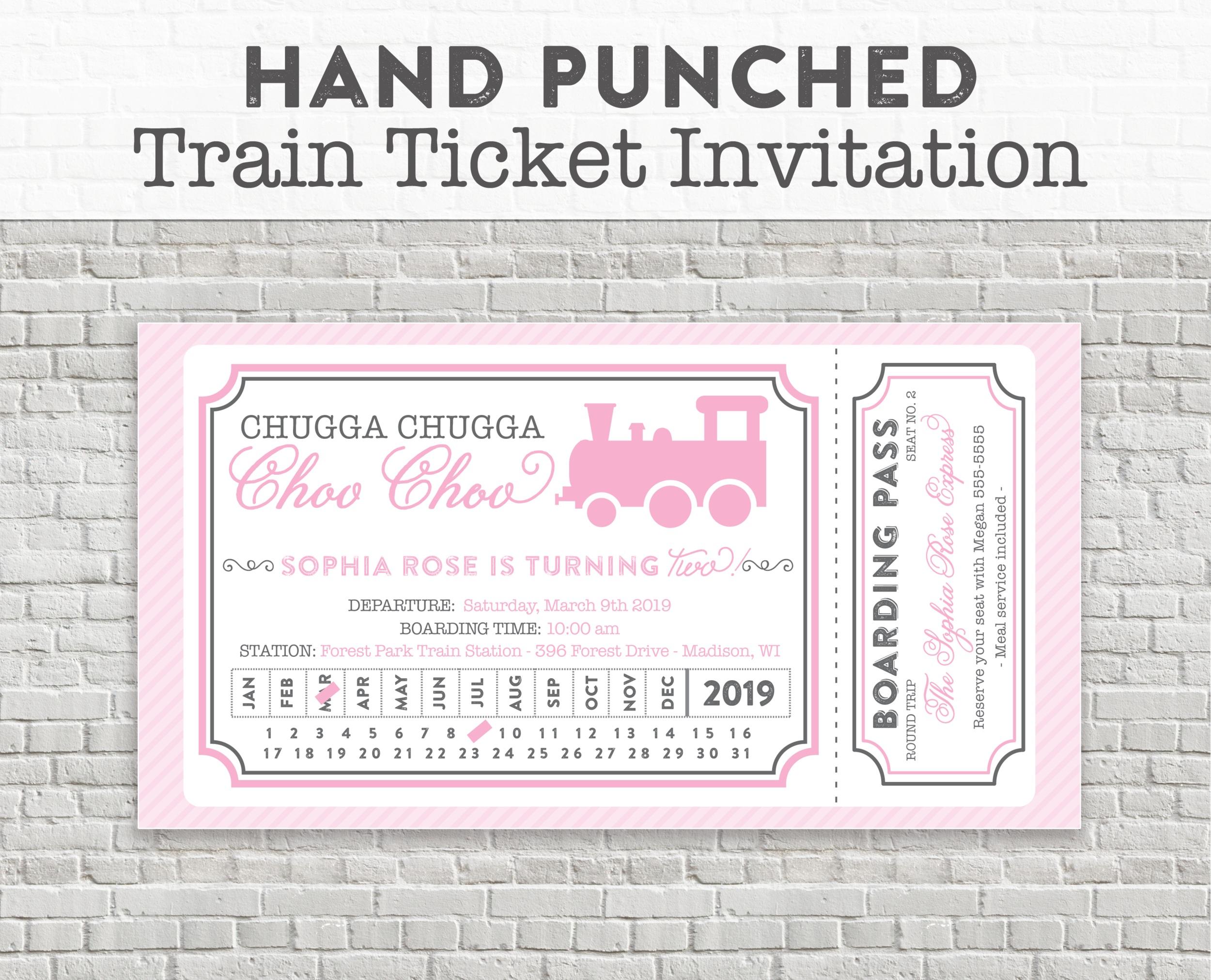 pink train party invitation