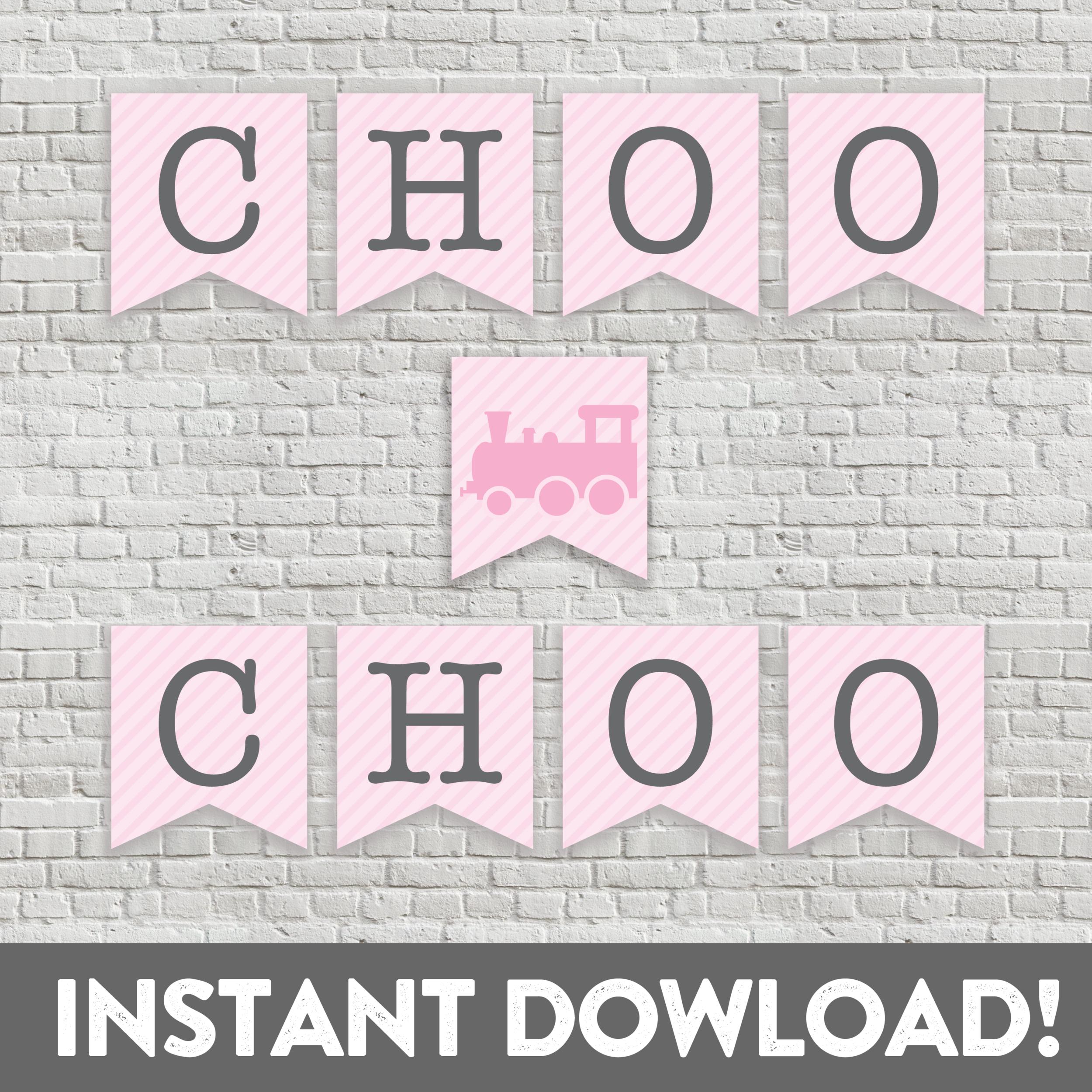 choo choo train banner bunting