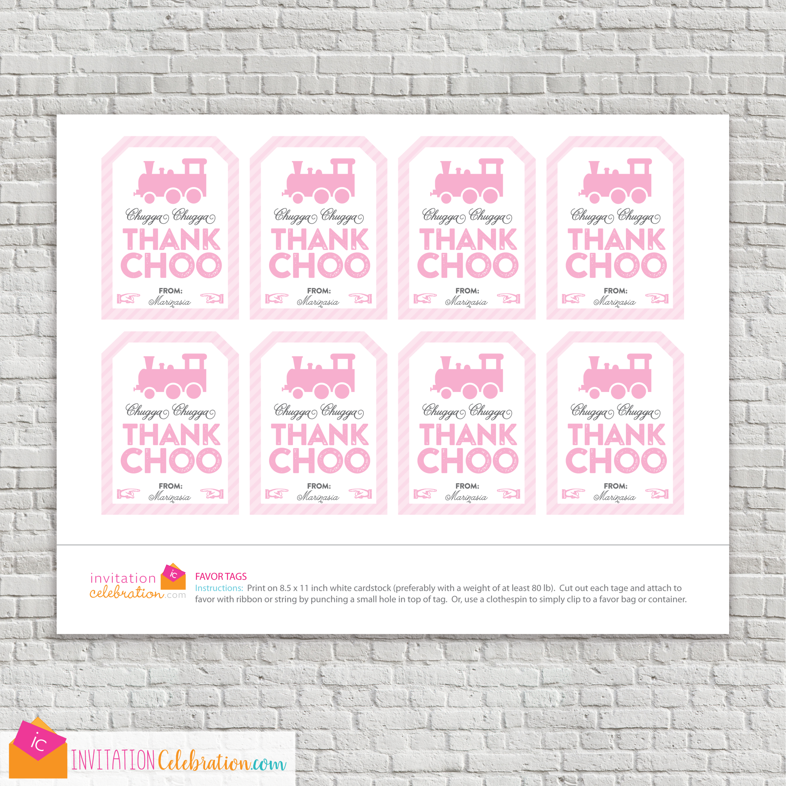 girl train party favor tag