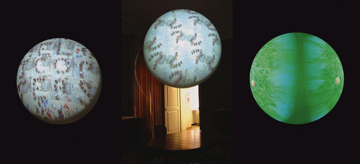 Videoplanet   2006 video projection on floating sphere.Single-channel video, 8:38 min, looped   sphere, satellite with video projector, media player, speakers   acrylic sphere, variable dimension 50 cm - 4 m (1.5 – 8 ft.) diameter