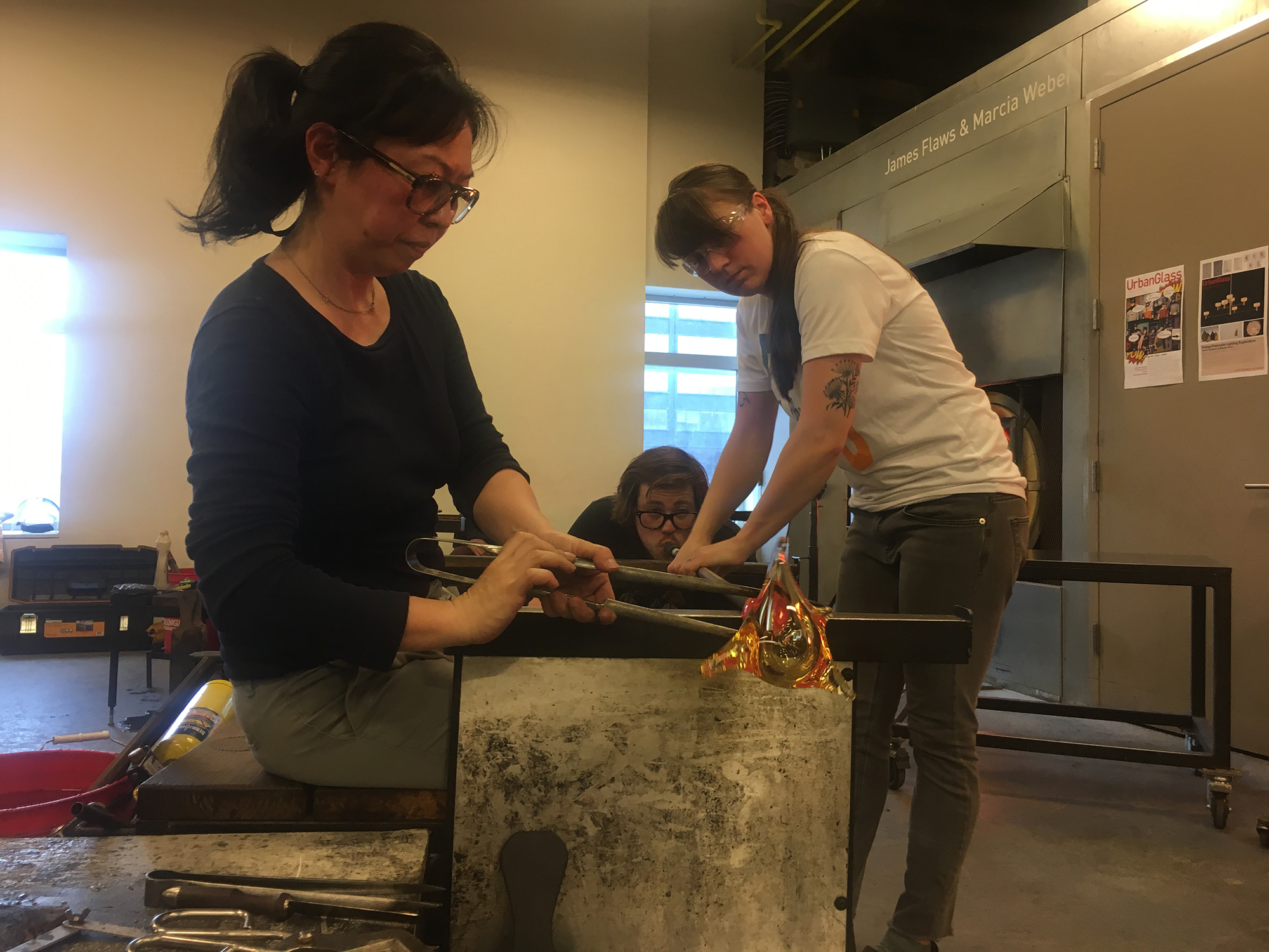 Michiko Sakano and her team making glass sculptures Urban Glass, New York.