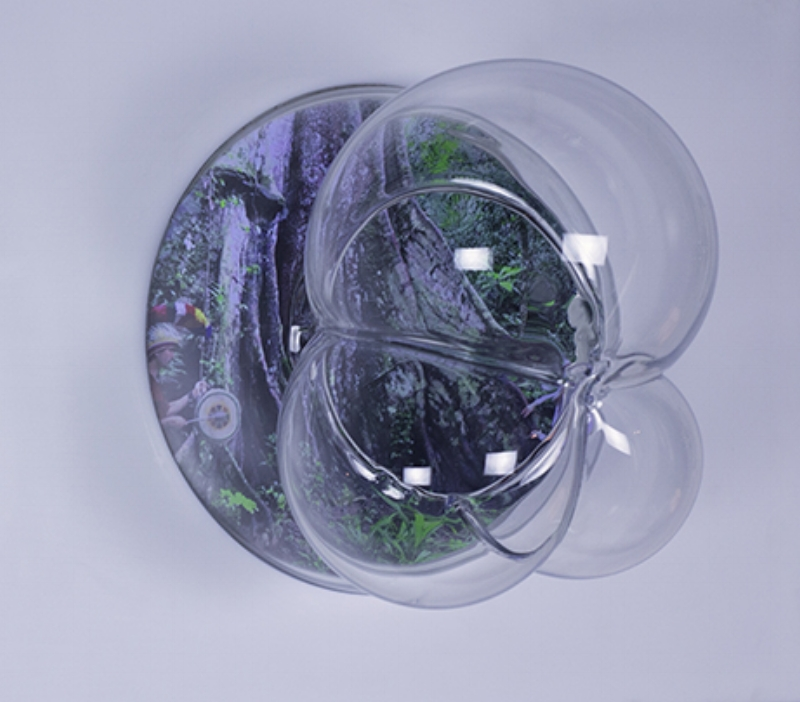 2017 Single-channel video with sound, 6:30 minutes, looped Hand-blown glass bubble Video screen embedded in white acrylic On/off switch and sound control 15 x 20 x 12 inches Edition: unique