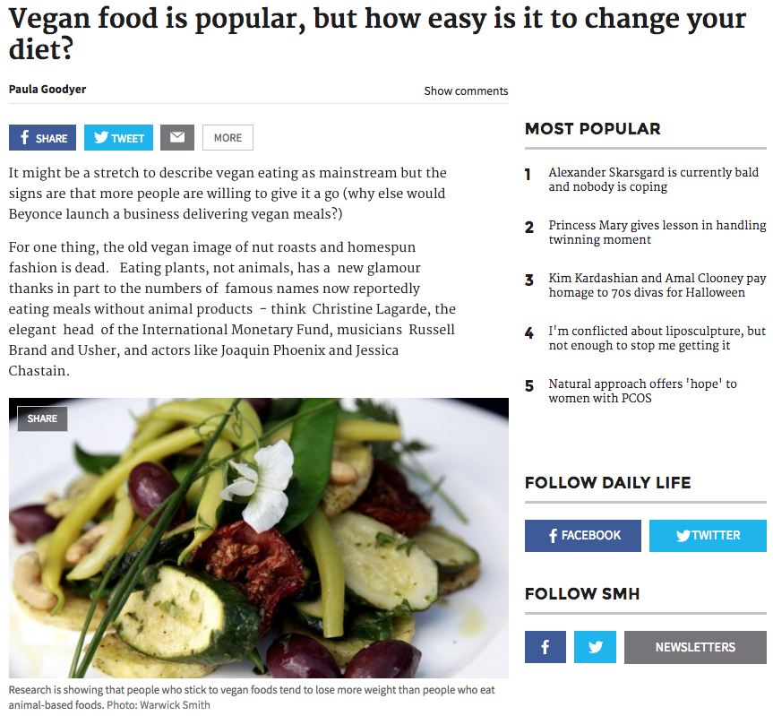 'Vegan food is popular, but how easy is it to change your diet?' - Sydney Morning Herald