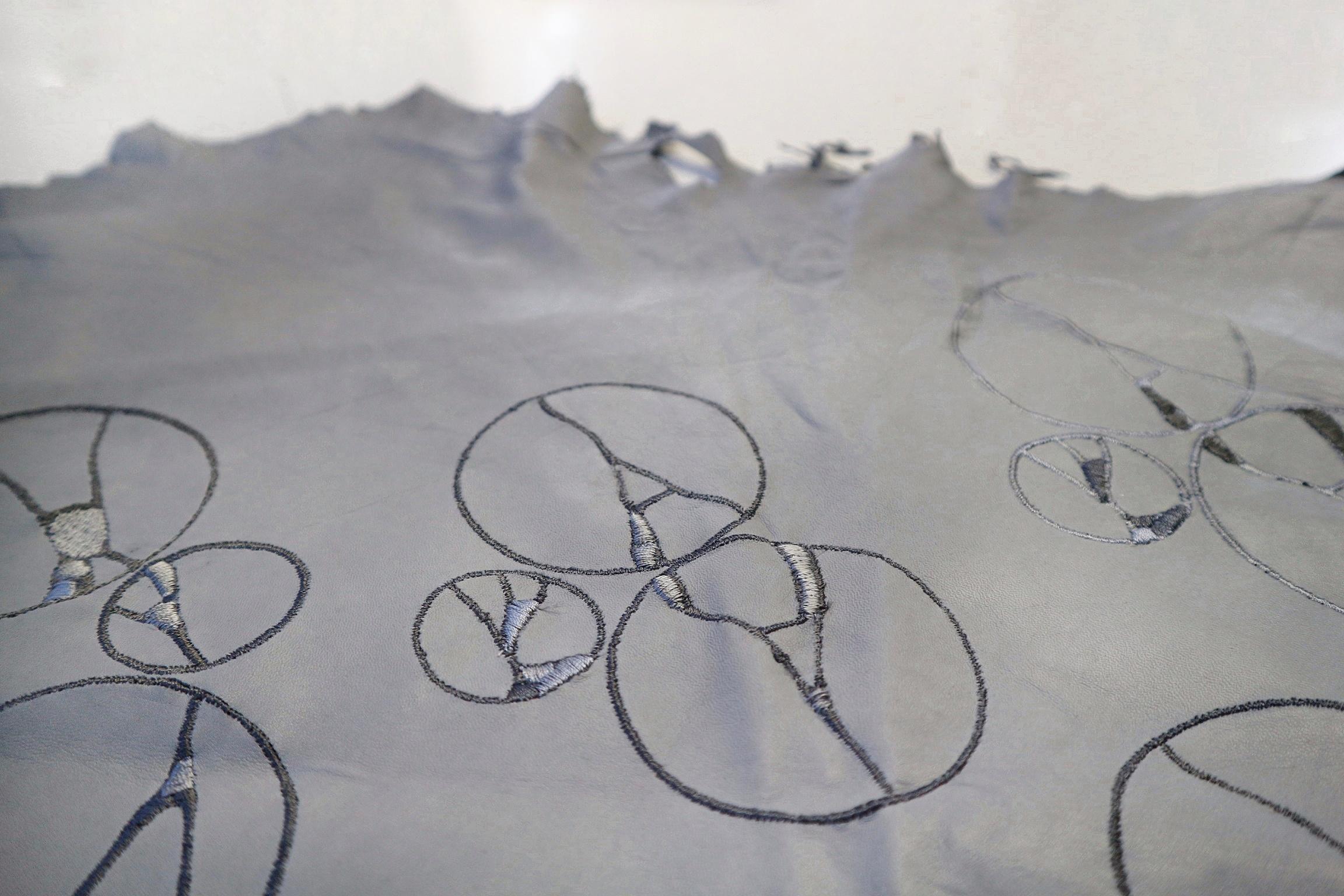 My interpretation of Kintsugi patterns on embroidered leather.