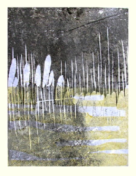 Rushes in winter Woodblock print 22x28cm 2017