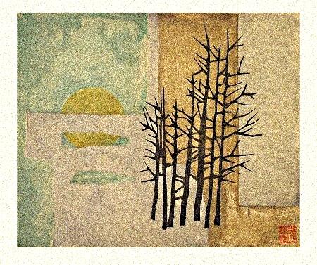 Haru no Hi Japanese Woodblock Print   45x30cm 2016