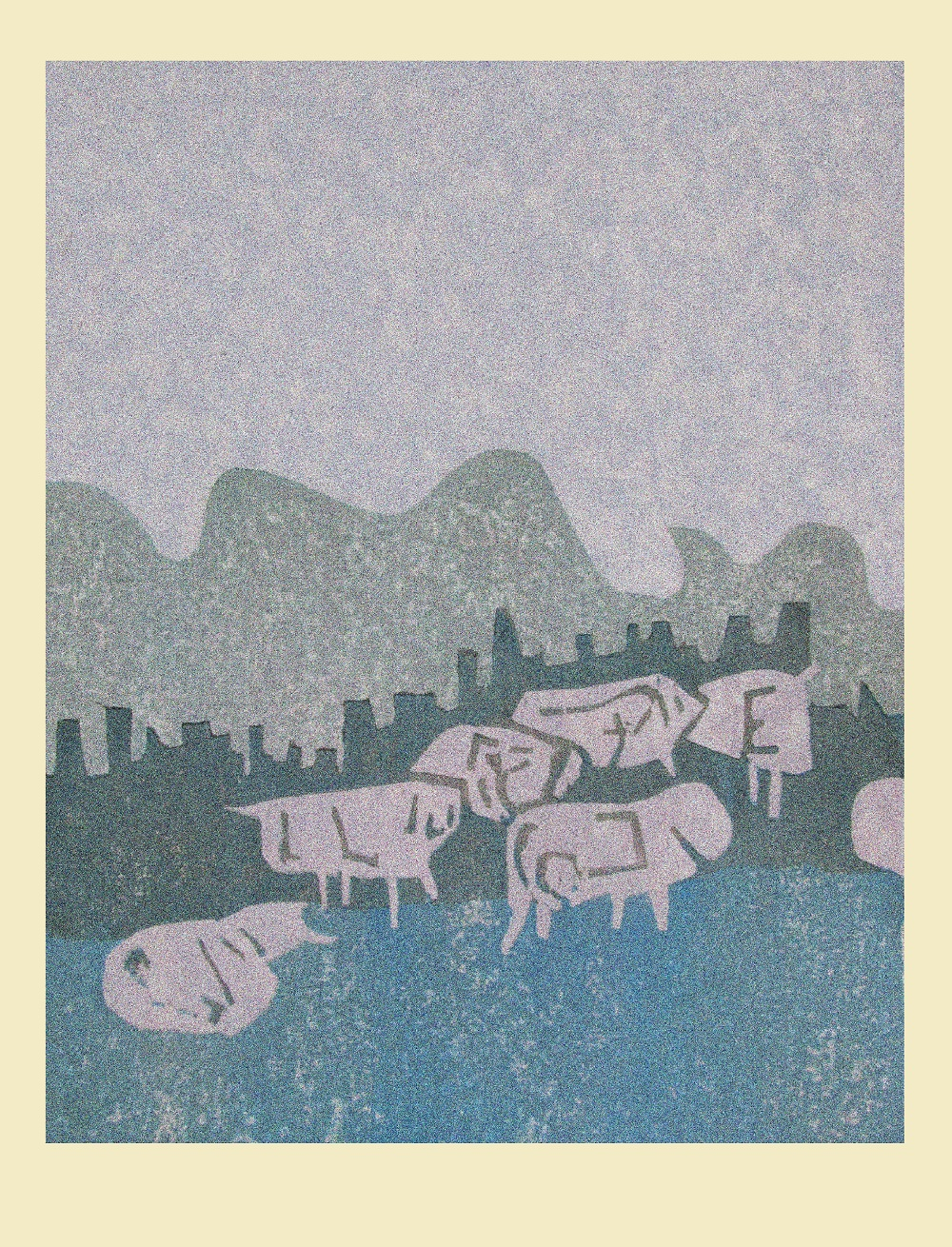 Cows on shore Woodblock print 23x15cm 2017