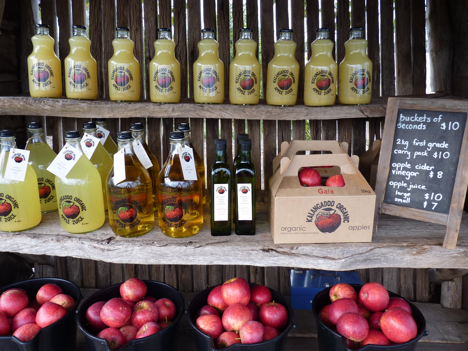 Kalangadoo Organic Farm Stand made from recycled materials from our old shearing shed