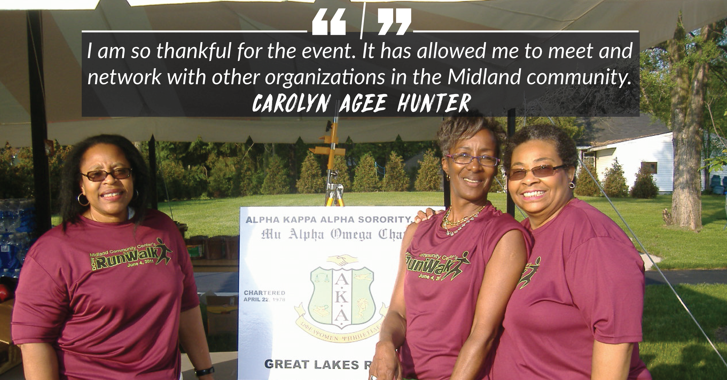Carolyn Agee Hunter and her Alpha Kappa Alpha sorority sisters look forward to helping at Midland's biggest race. We'd love your help on June 1, too!
