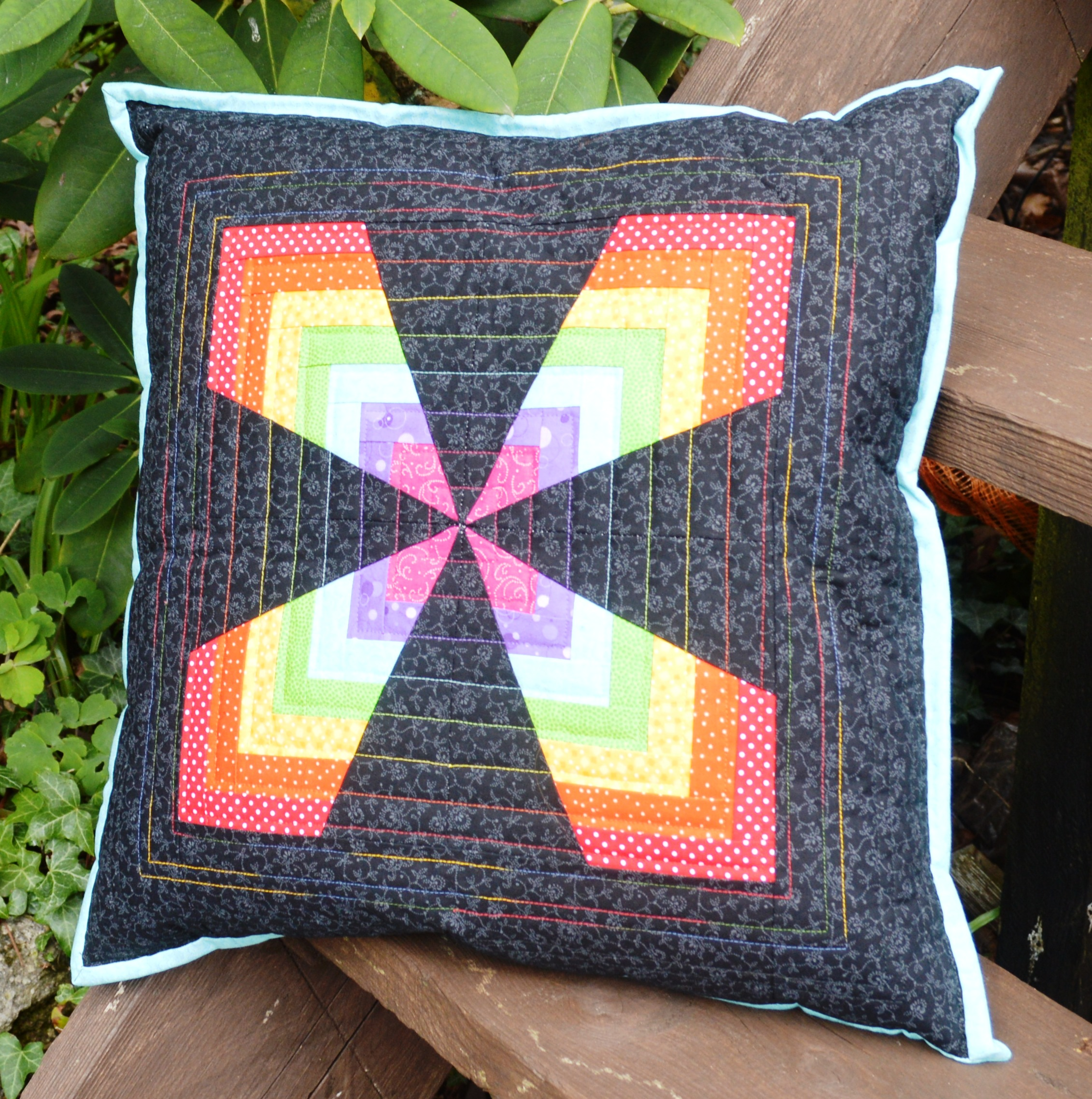 Rainbow Paper Pieced Pillow