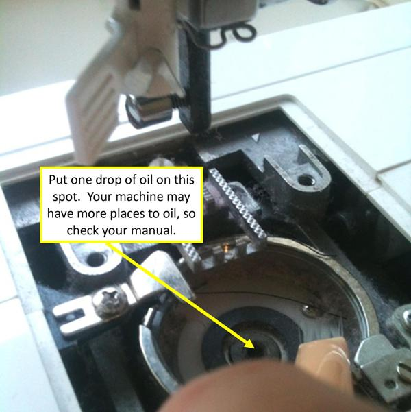 7) Add a drop of Sewing Machine Oil to the machine to make it run more smoothly.