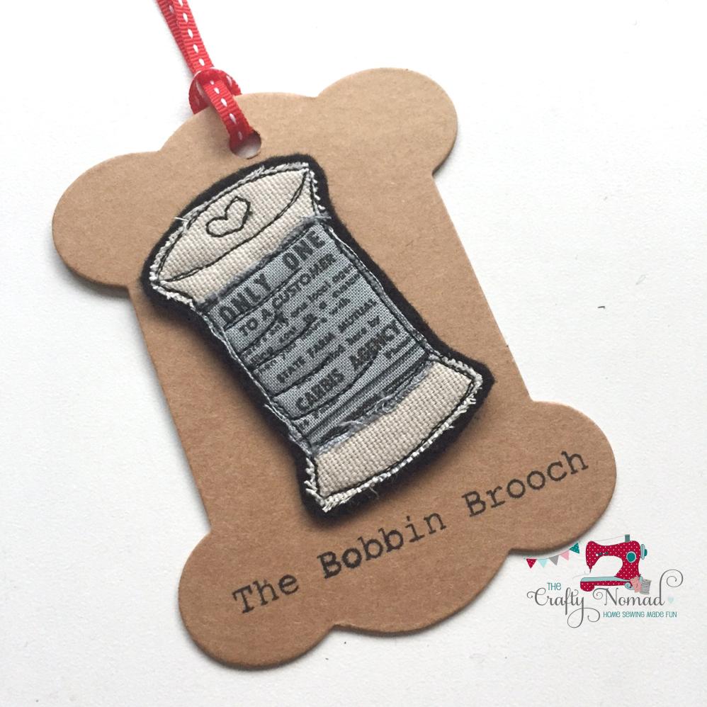 Grey Print Bobbin Brooch The Crafty Nomad.png