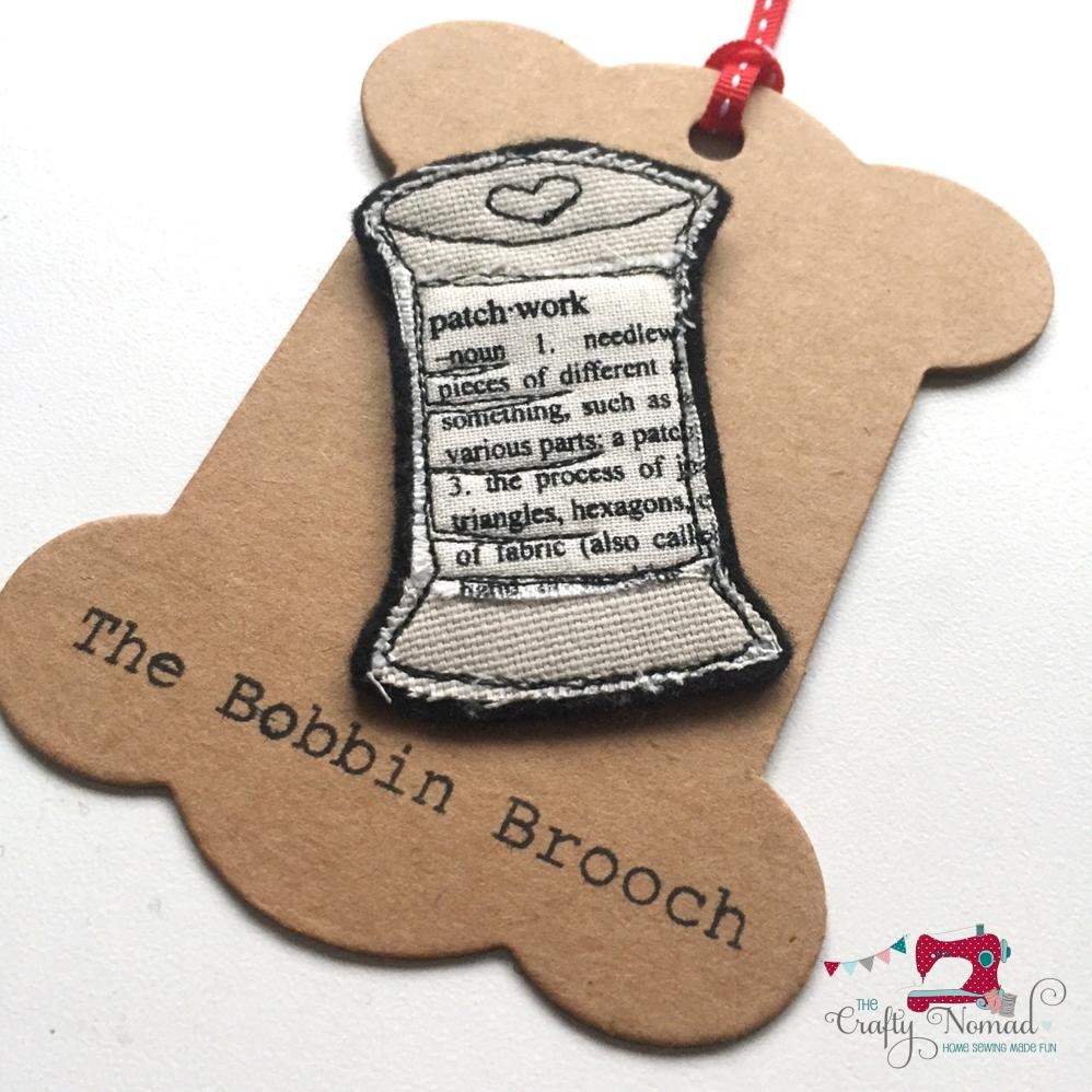 Patchwork Words Bobbin Brooch The Crafty Nomad.png