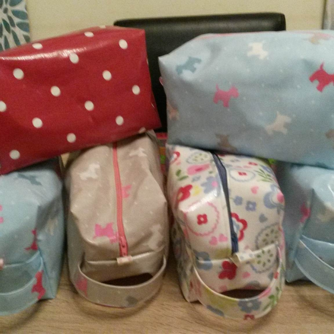 Just a few of Louise's Oilcloth Wash Bags!