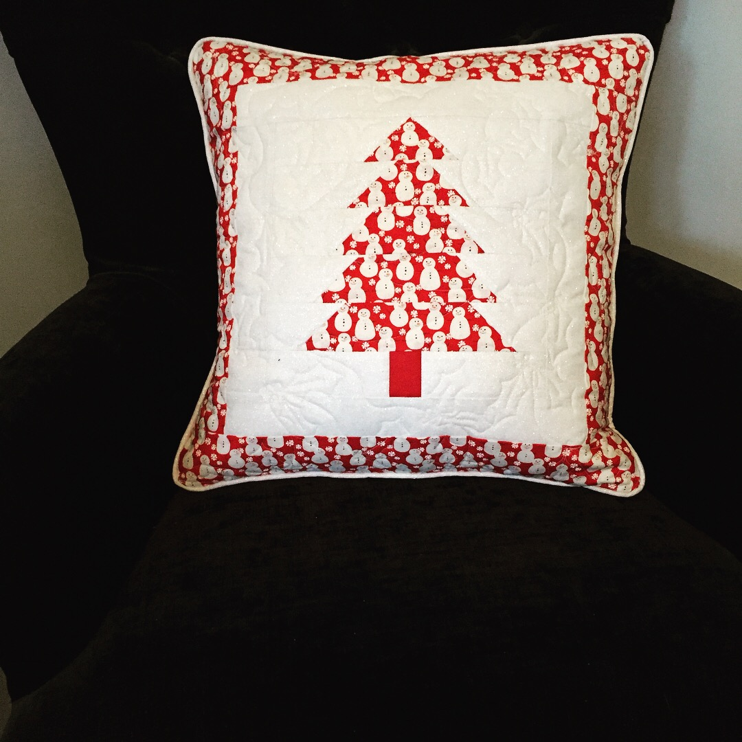 Patchwork Piped Christmas Tree Cushion by Jo Westfoot The Crafty Nomad