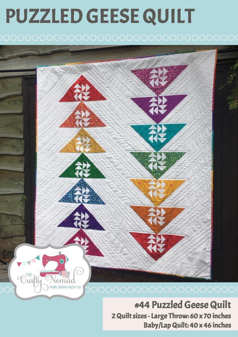 The Puzzled Geese Quilt Pattern - is my latest addition. It features blocks which consist of a traditional block (Dutchman's Puzzle) set into a a large triangle (Flying Geese). I've called it Puzzled Geese as although the two columns of large geese seem to know where they are going, the little ones inside seem a wee bit puzzled!There are two size options for this design included in the pattern: Baby - 40 x 46 inches; and Large Throw - 60 x 70 inches.I've included a Foundation Pattern Piecing option for the centre block and also instructions to piece it traditionally if you prefer that technique. I've also included a small section on making scrappy binding.