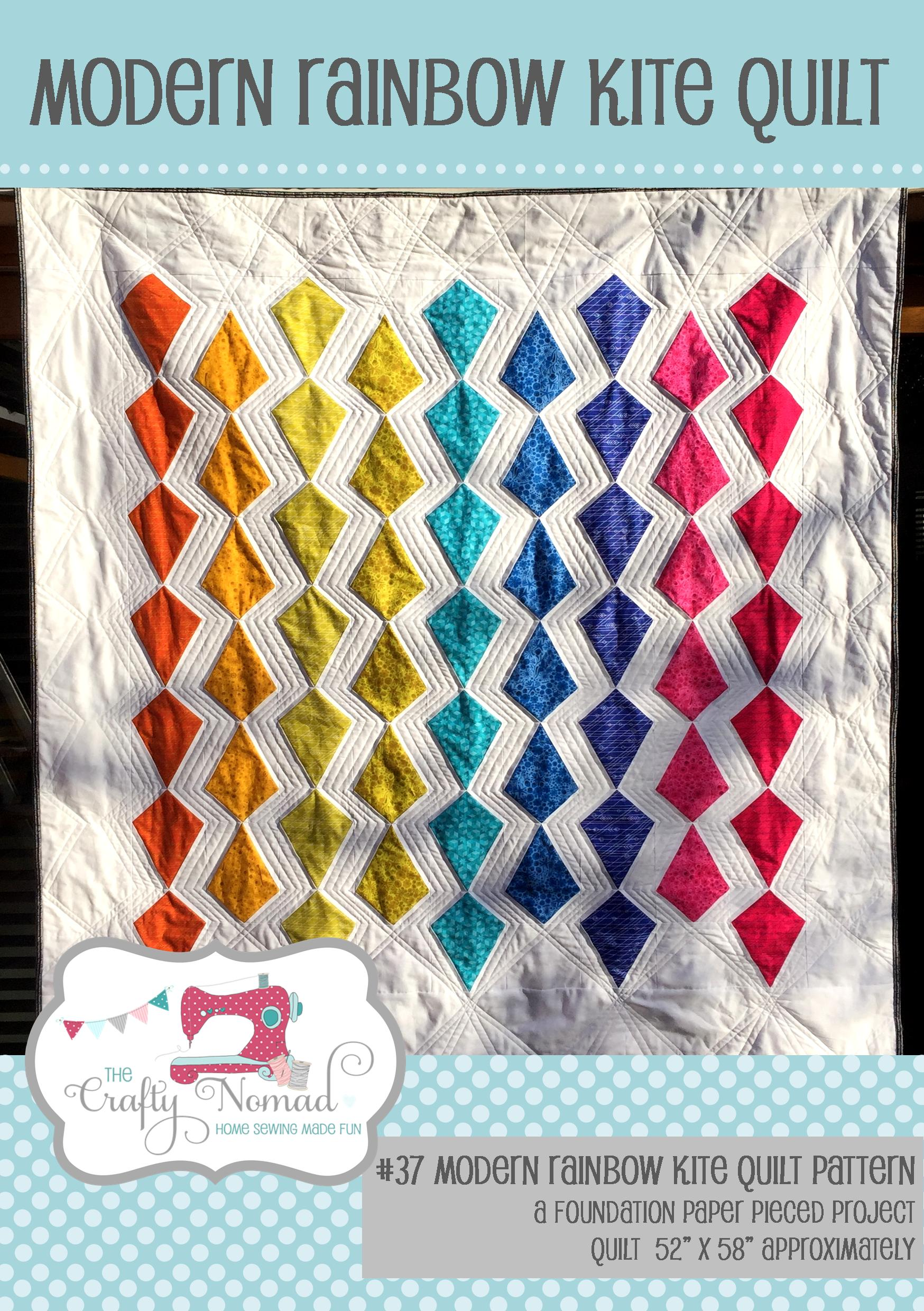 Rainbow Kite Quilt - This modern patchwork pattern consists of a kite shaped foundation paper piecing pattern. I've made it in a rainbow spectrum but you could make it in any colour way. An ombre spectrum would look fabulous too. This pattern will provide dimensions to make a throw size quilt.The quilt finishes up at 52 x 58 inches approximately.