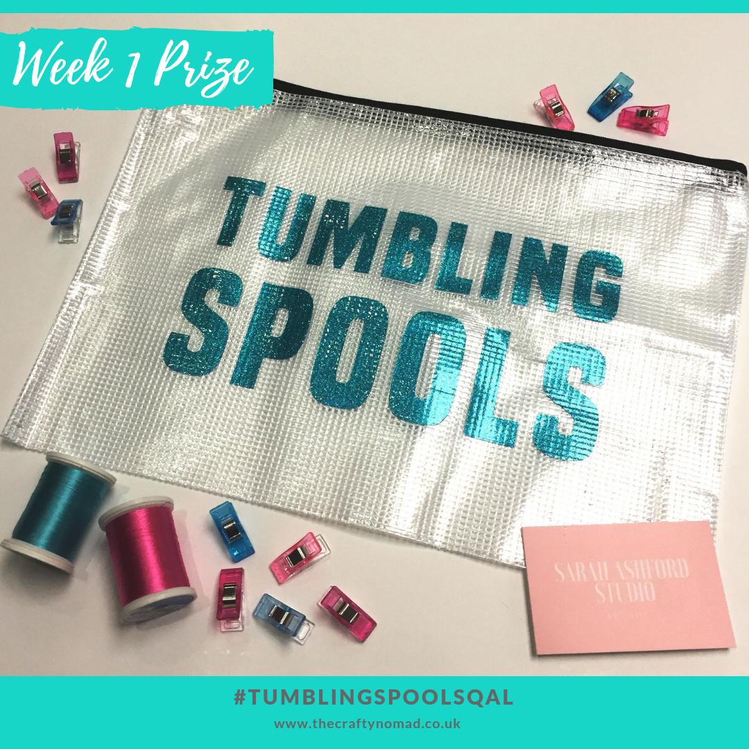 Week 1 Prize tumbling spools quiltalong the crafty nomad