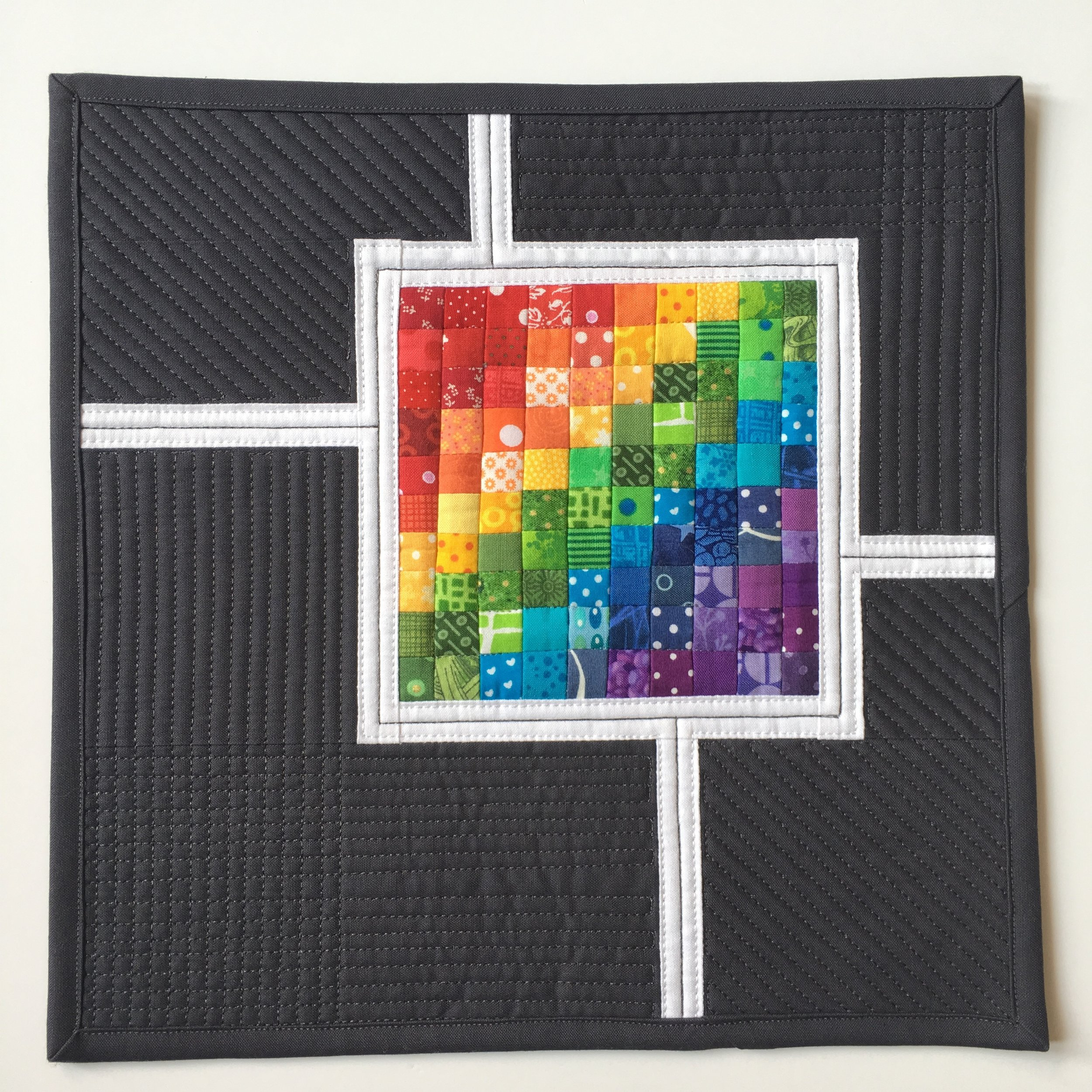 Teeny Tiny Rainbow Mini Quilt by Abigail from cut&alter