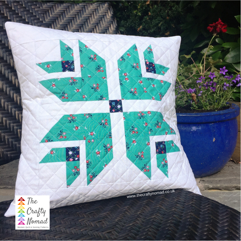 Twinkling Blooms in floral cushion Jo Westfoot The Crafty Nomad