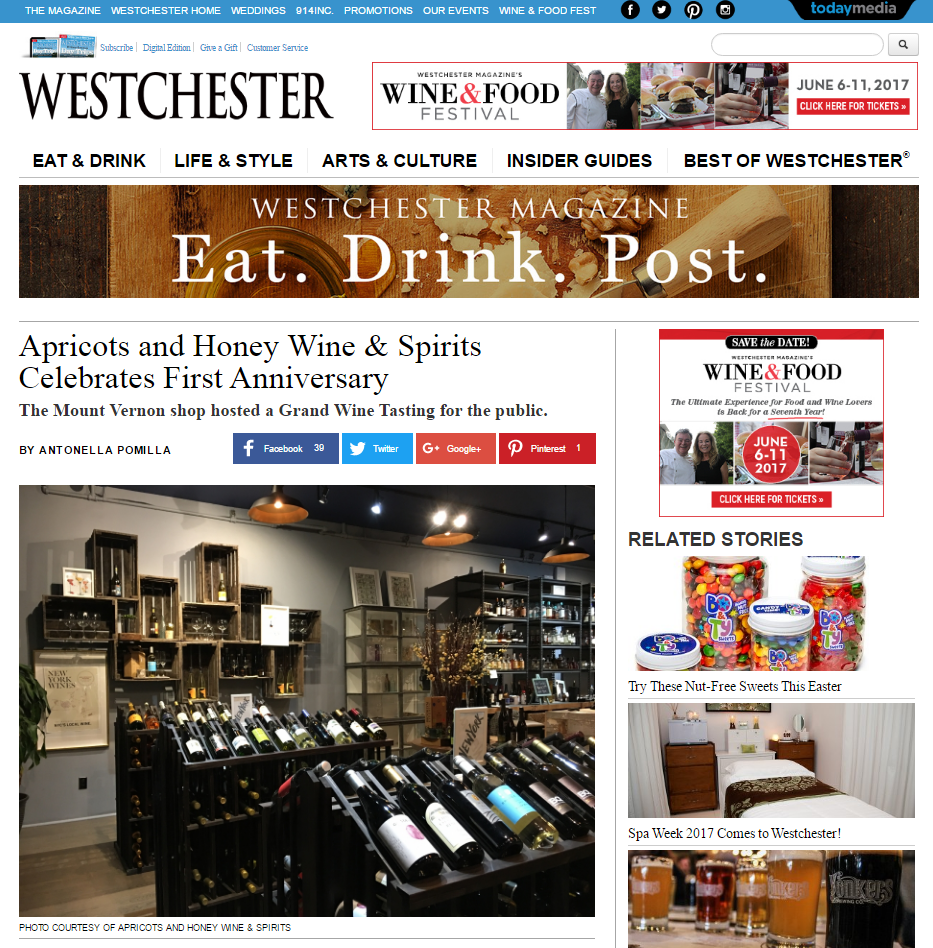 Westchester Magazine Apricots and Honey