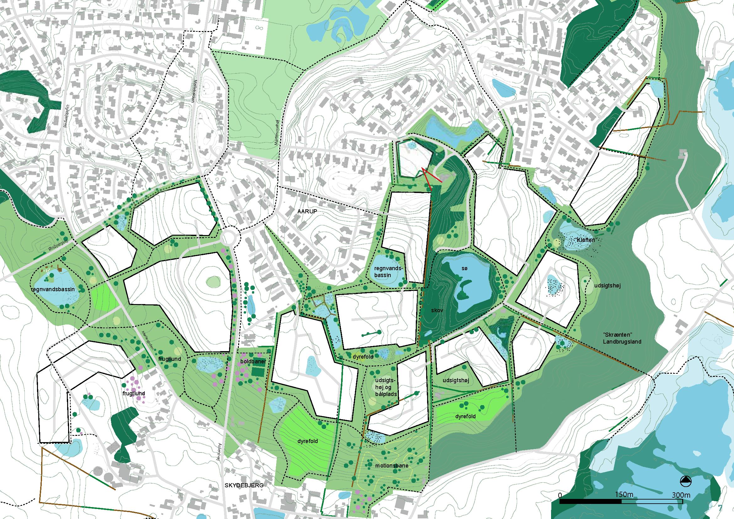 Byvækstplanen tager afsæt i det kuperede terræn og de landskabelige værdier som giver området en særlig identitet