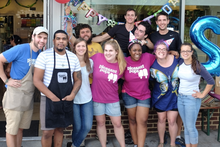 Pleasant Pops staff at our 2nd birthday party of our Adams Morgan shop
