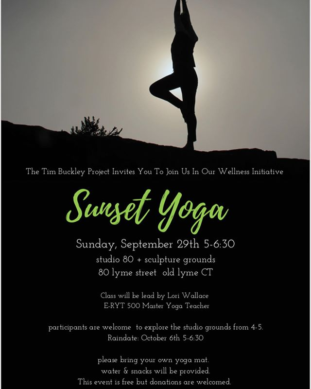 September is National Yoga Awareness month. Be kind to your mental health💚 Join the Tim Buckley Project at Studio 80 + Sculpture Grounds in this wellness initiative - the event is free! Sunday Sept 29th!