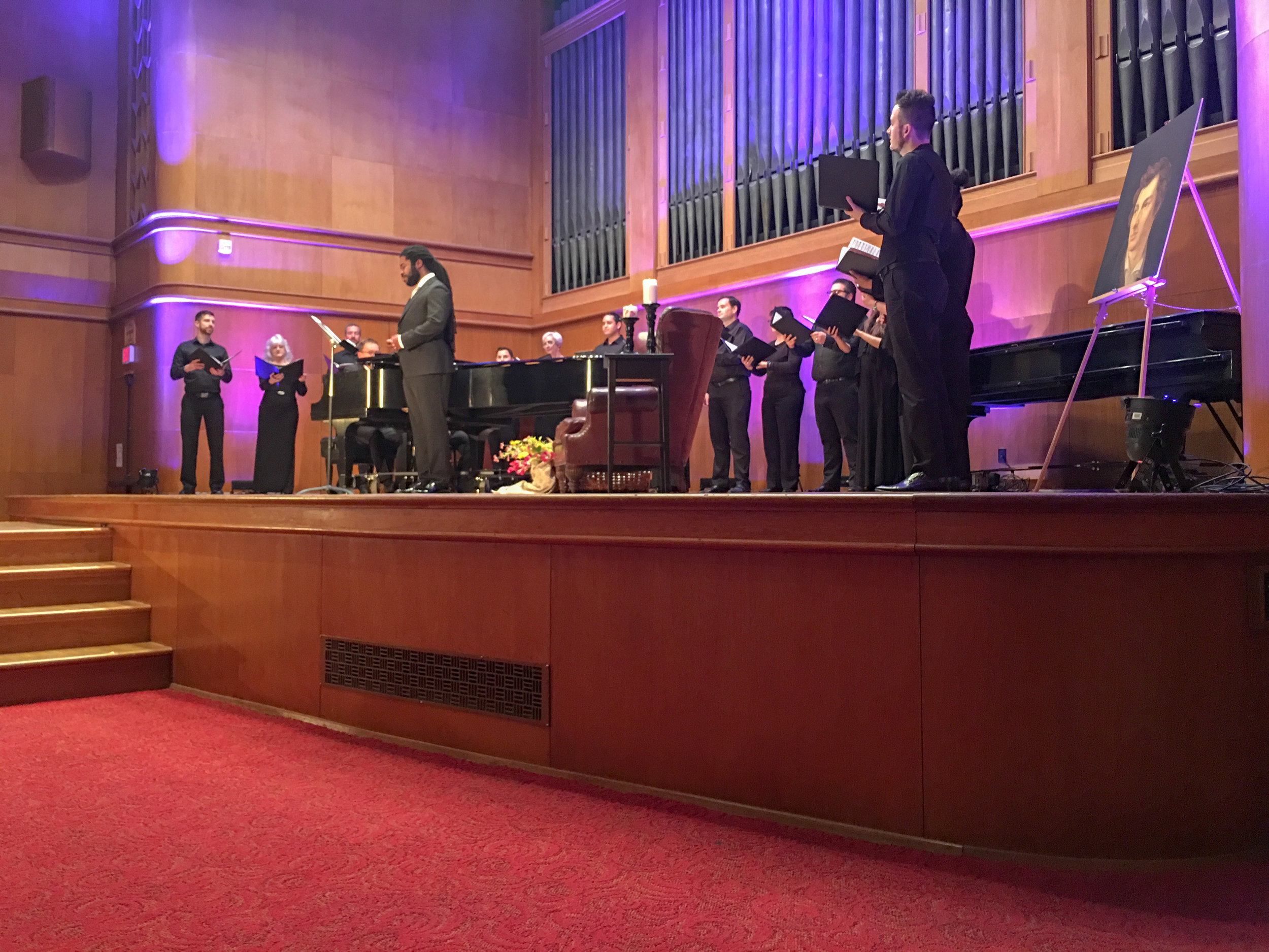 On the beautiful stage of Homer Rainey Hall at the University of Texas Austin, joined by members of the wonderful choir in which I sing, Conspirare.  A program of Schumann's  Dichterliebe , Vaughan Williams  Mystical Songs  (pictured), and black spirituals, among other works.