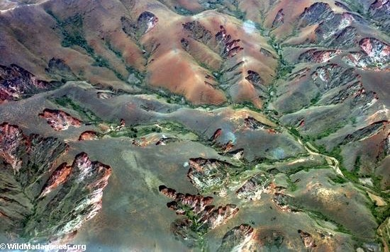 Aerial view of eroded Malagasy highlands. Photo: Wildmadagascar.org