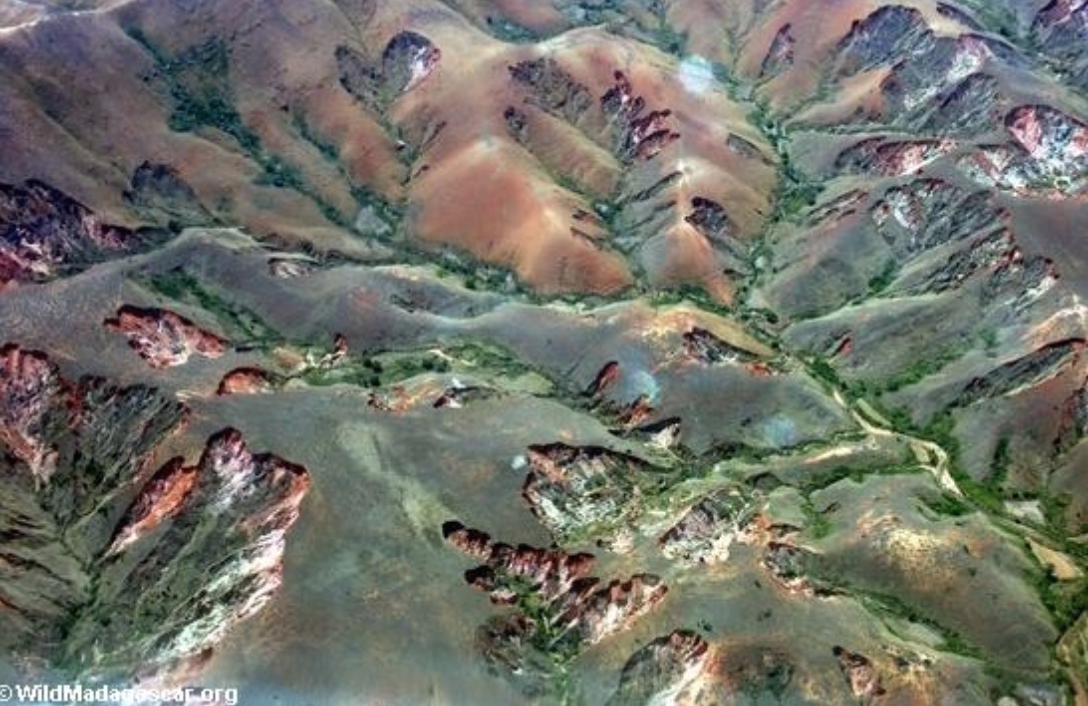 Aerial view of eroded Malagasy highlands. Photo  ©  Wildmadagascar.org