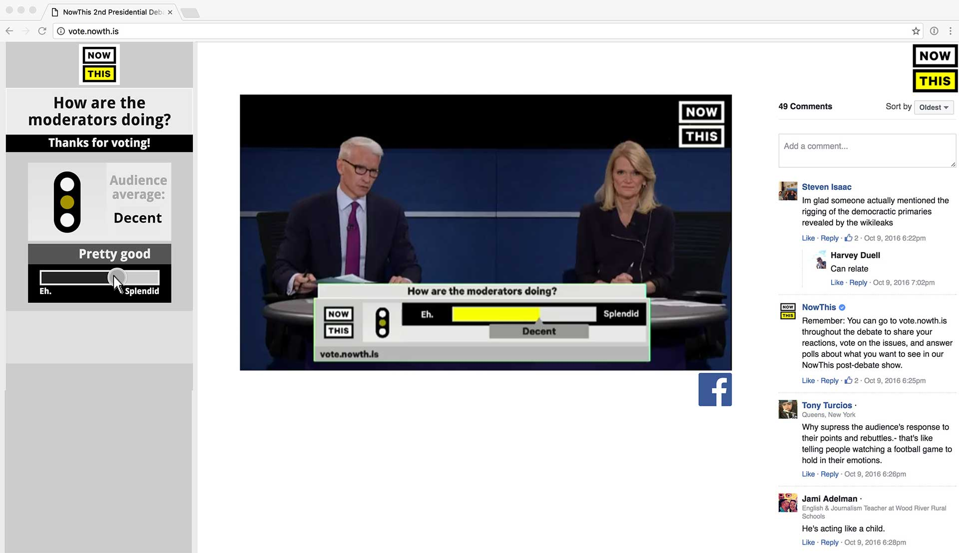 The Megaphone TV interface with Facebook comments and NowThis on Facebook Live.