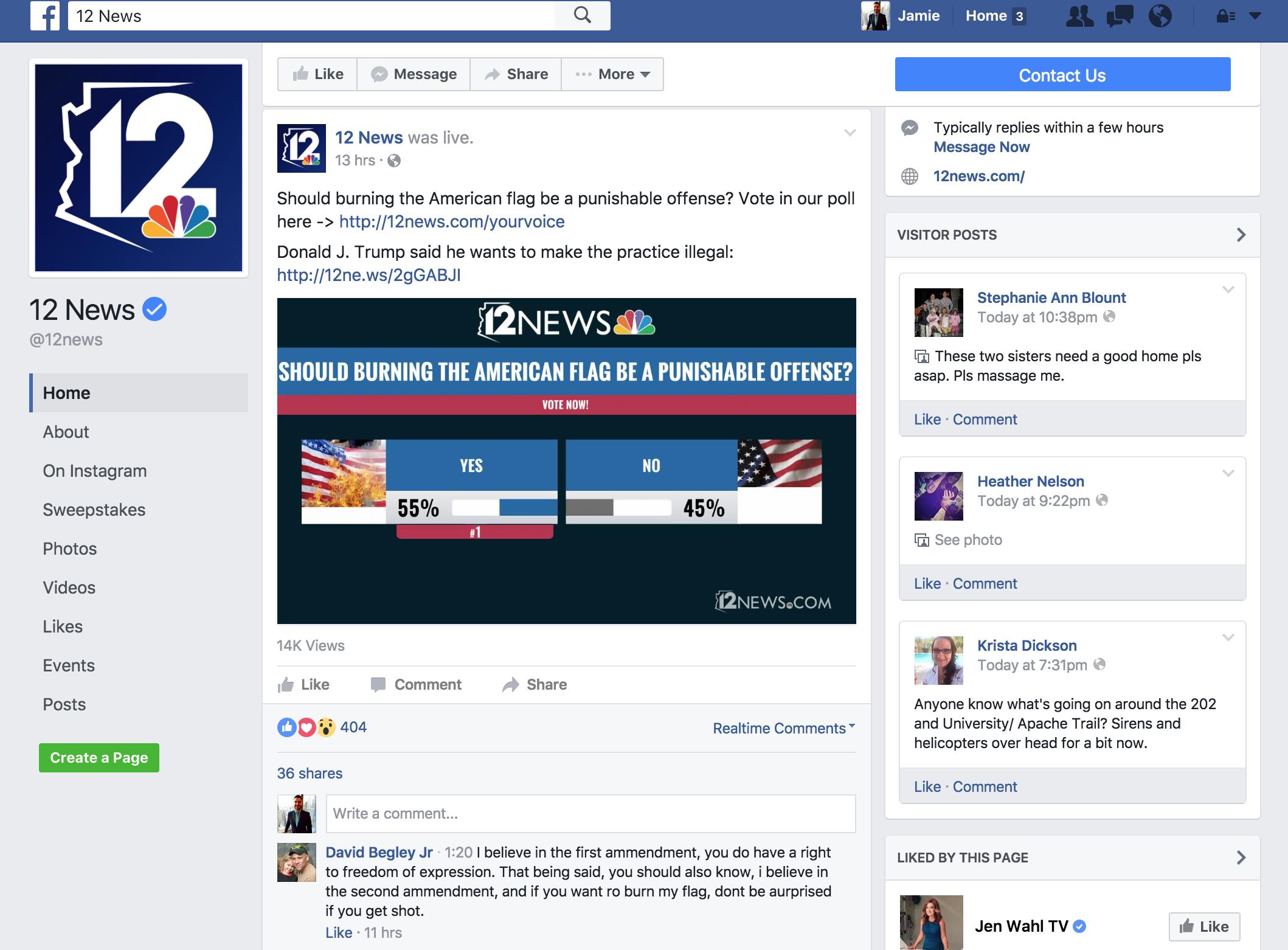 Phoenix's KPNX/12News runs a long-term poll on Facebook Live.