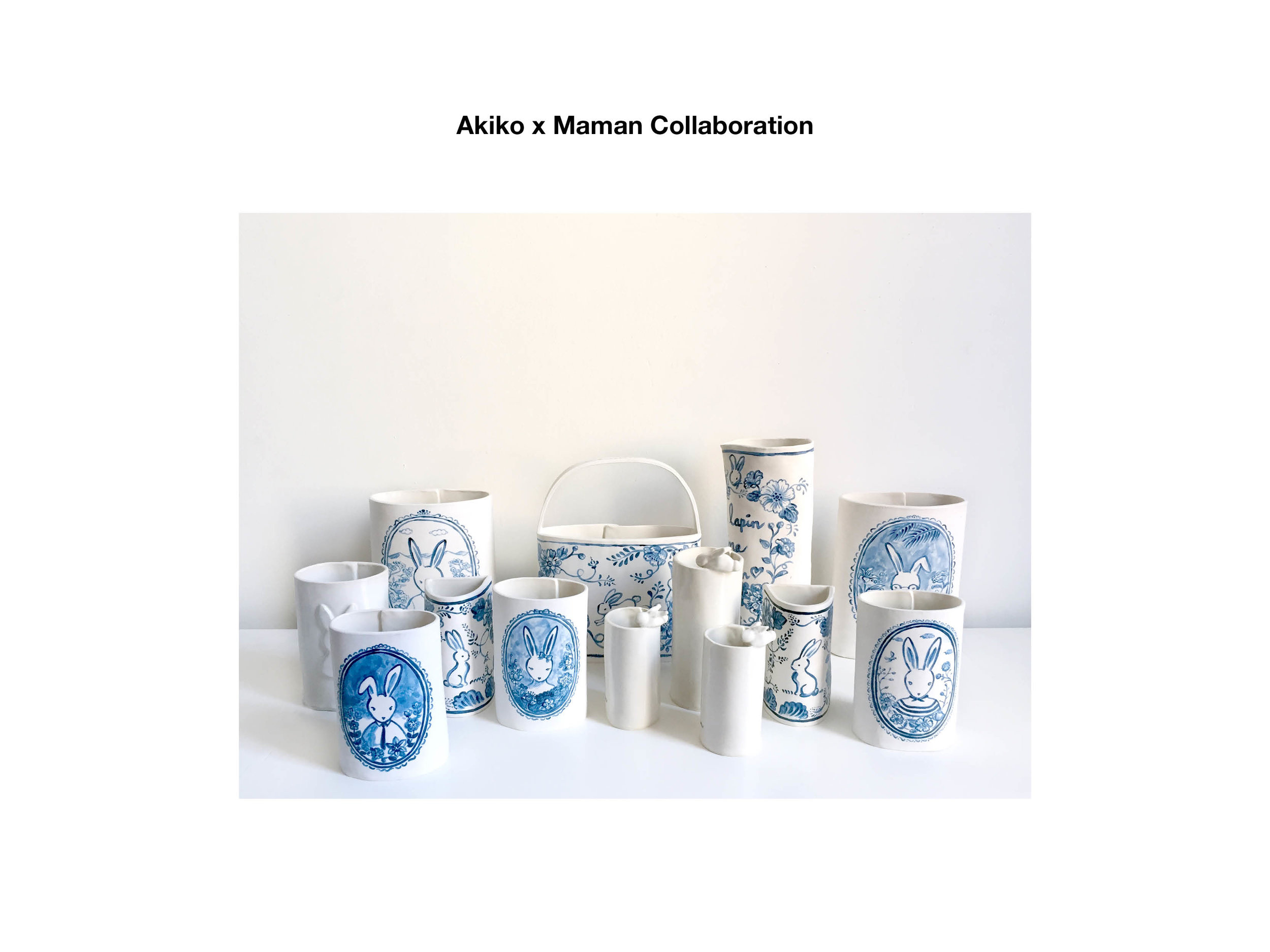 Akiko x Maman Collaboration is finally here! Stop by Maman Tribeca NYC and shop these limited edition ceramic pieces I created exclusively for Maman at Marché Maman while you enjoy coffee, great pastry and lunch. Made to order available through my shop site.