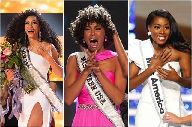 "For the first time ever, Miss USA, Miss Teen USA, and Miss America are all Black women. Cheslie Kryst, a JD/MBA from North Carolina who practices civil litigation won the 2019 Miss USA competition. Nia Imani, a classically trained opera singer, earned her Masters in Fine Arts before receiving a prestigious fellowship and moving to New York City to pursue her dreams, and eventually winning the 2019 Miss America title. High School student Kaliegh Garris, 18, made headlines for being one of the only Miss Teen USA winners to step on the stage without a straightened hairstyle. When she's not advocating for disabled people with her movement ""We Are People 1st,"" she's performing as a competitive dancer. @buzzfeed #womenmakinghistory #missusa #missteenusa #missamerica"