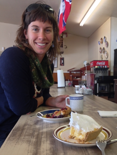 Stacy Carlson on a pie break