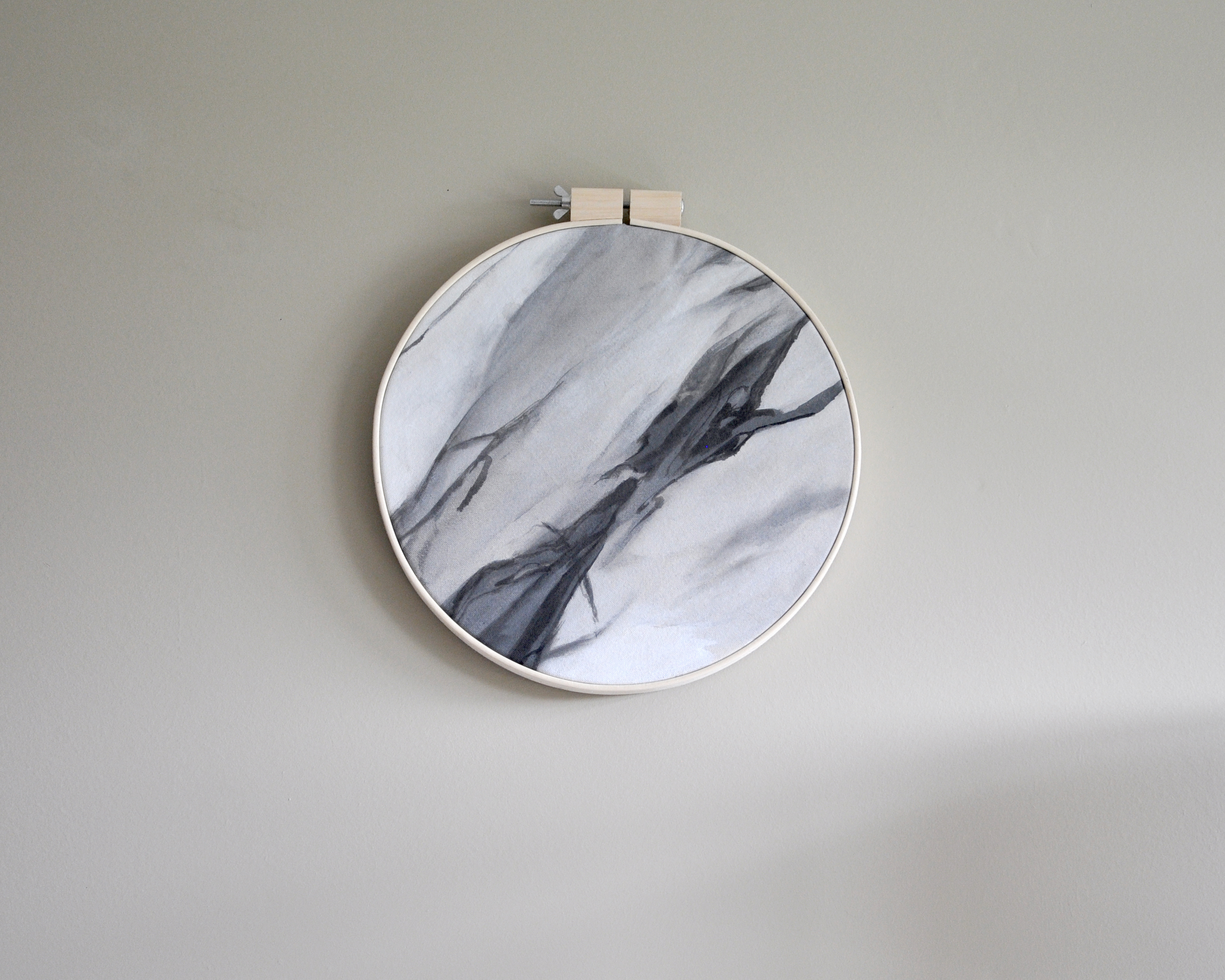 """HOOP; L / Ashley Opperman / acrylic and ink on canvas / 14"""""""