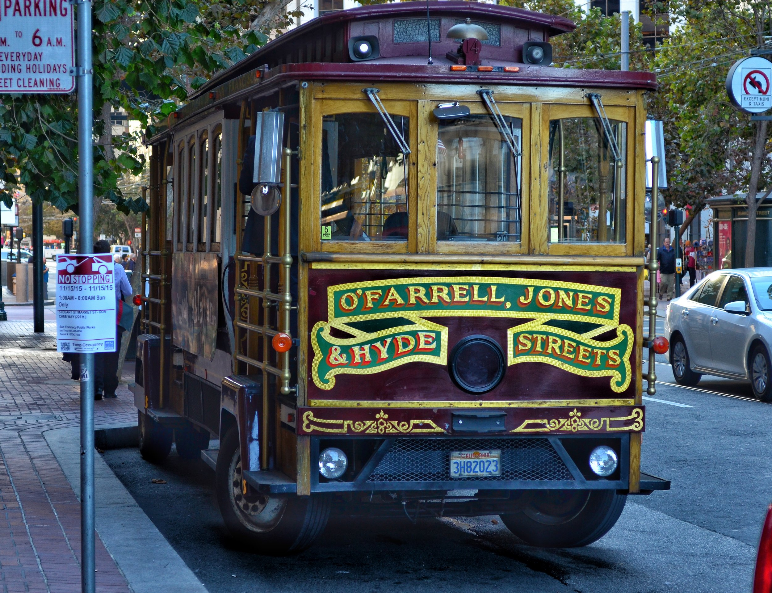 Old fashioned Trolley Car parked on Market street,