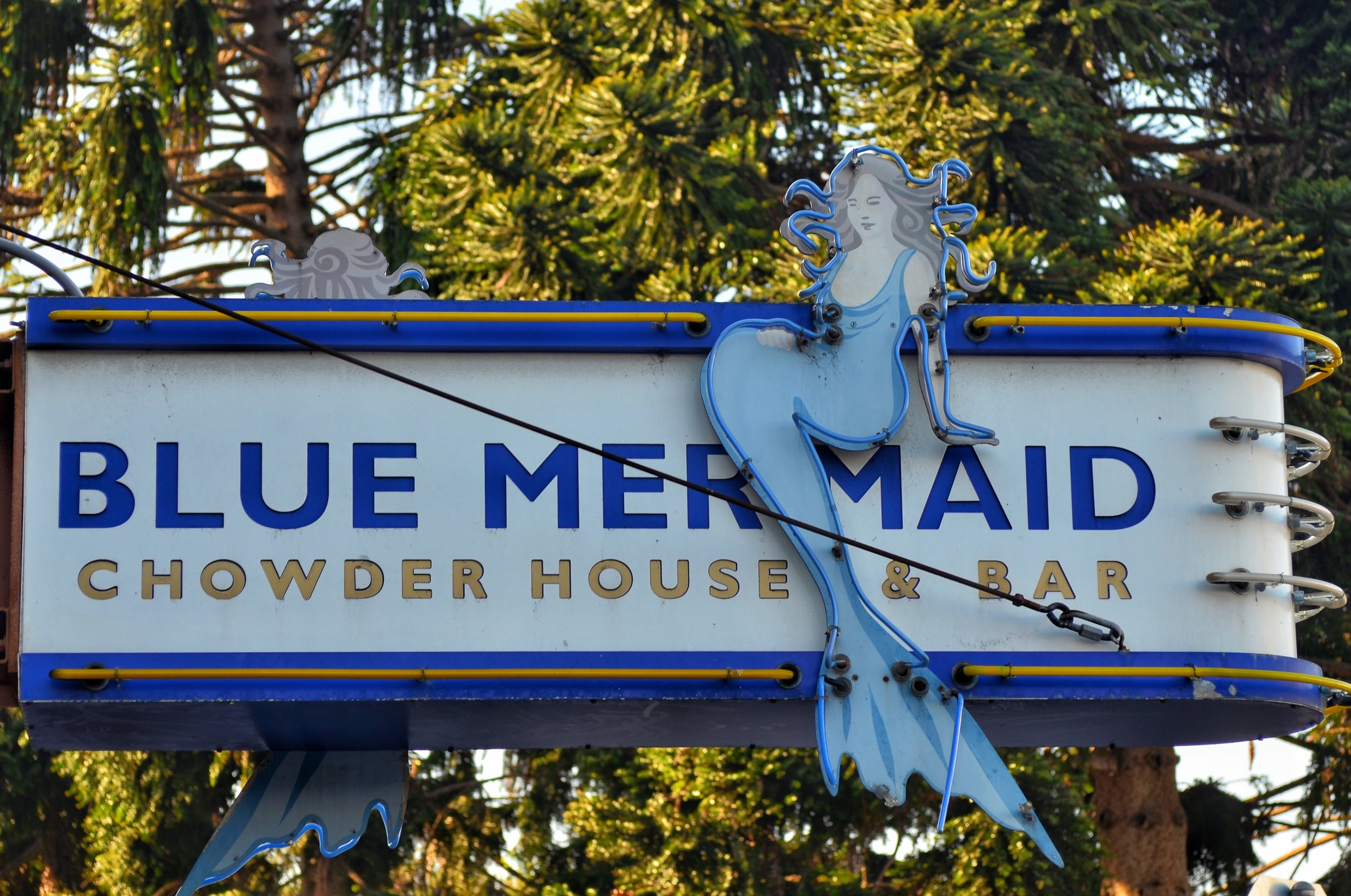 Neon sign for Blue Mermaid Chowder House and Bar located in the Argonaut hotel in Fisherman's Wharf because I love Neon Signs!