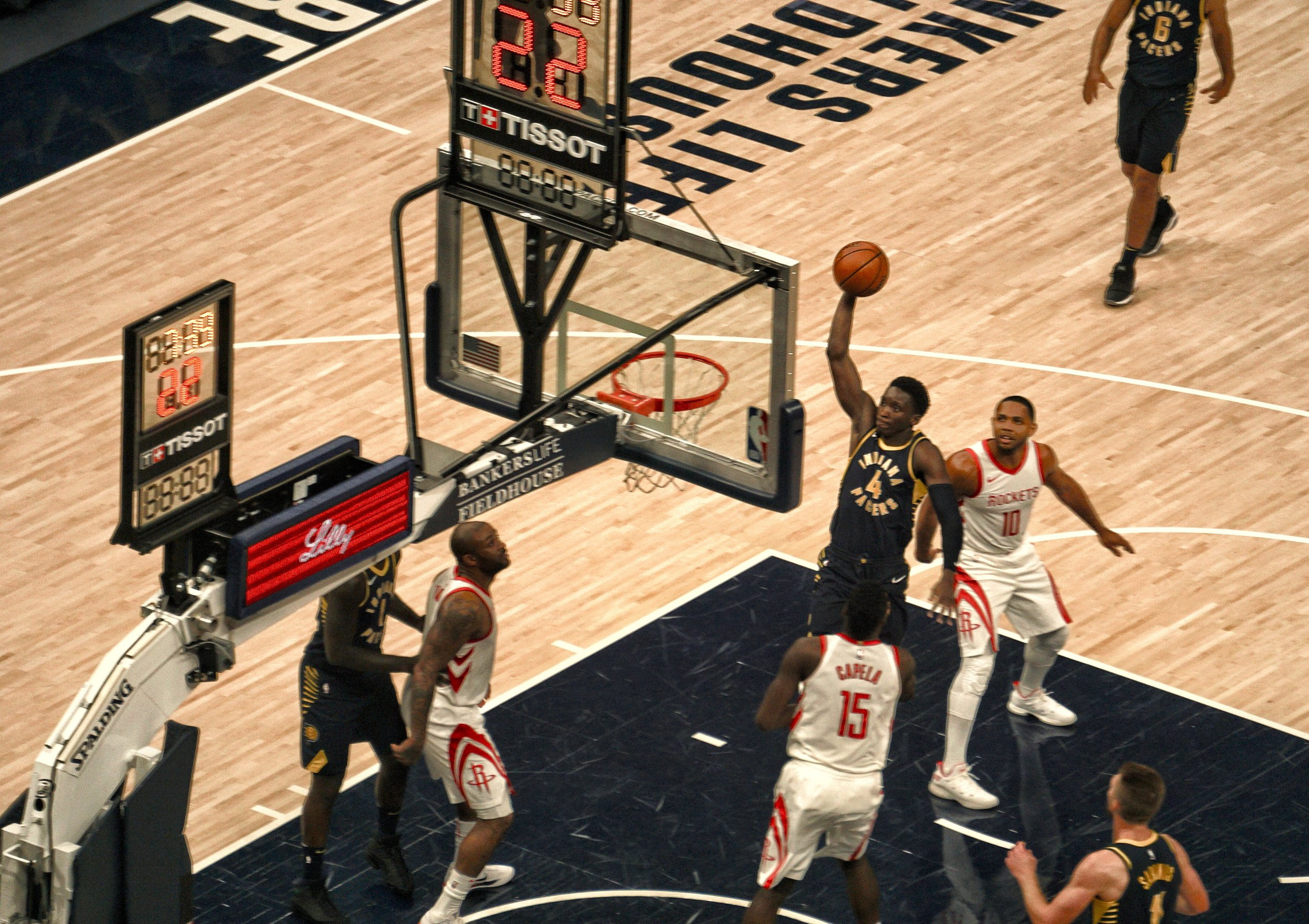 Oladipo soars in for a dunk during the second half of the game.
