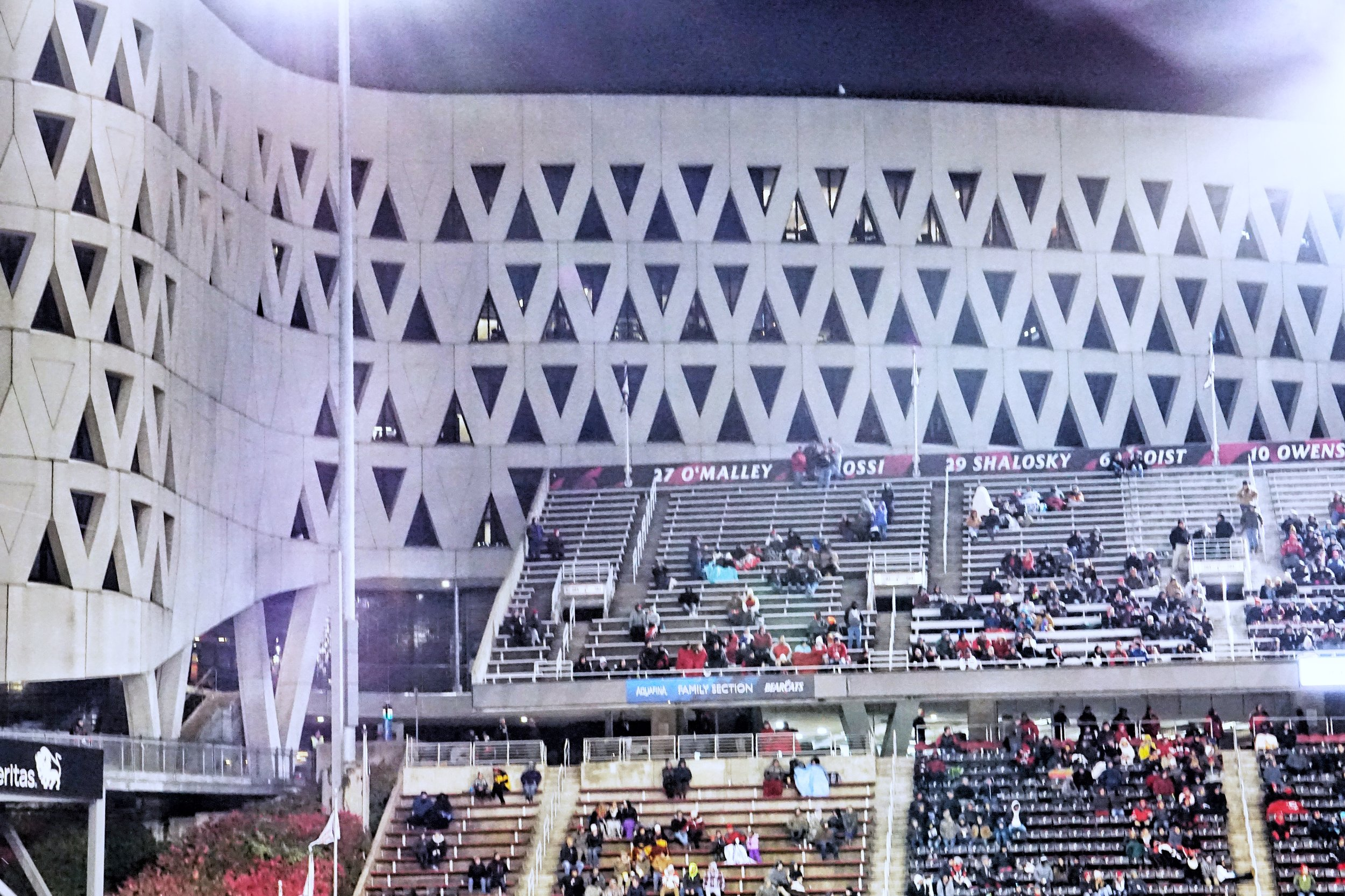 One of the Stadiums most distinctive visual features, the concrete triangles of the Robert D. Lindner Building that can be seen over one wall of the stadium.