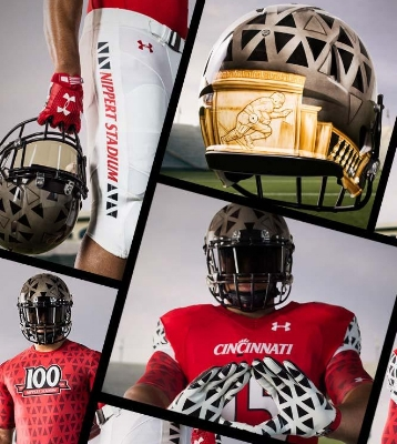 In 2015 the Bearcats wore special uniforms to commemorate the 100 year anniversary of Nippert Stadium. The key design element of the uniform was based on the triangle shapes of the Lindner Building wall that is visible from inside the stadium.  (photo credit: Under Armour)