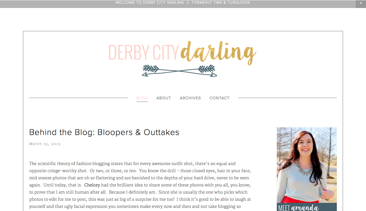 Derby City Darling blog design