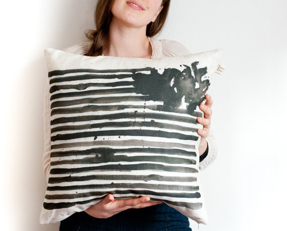 Black striped watercolor pillow cover from toucheefeelee1