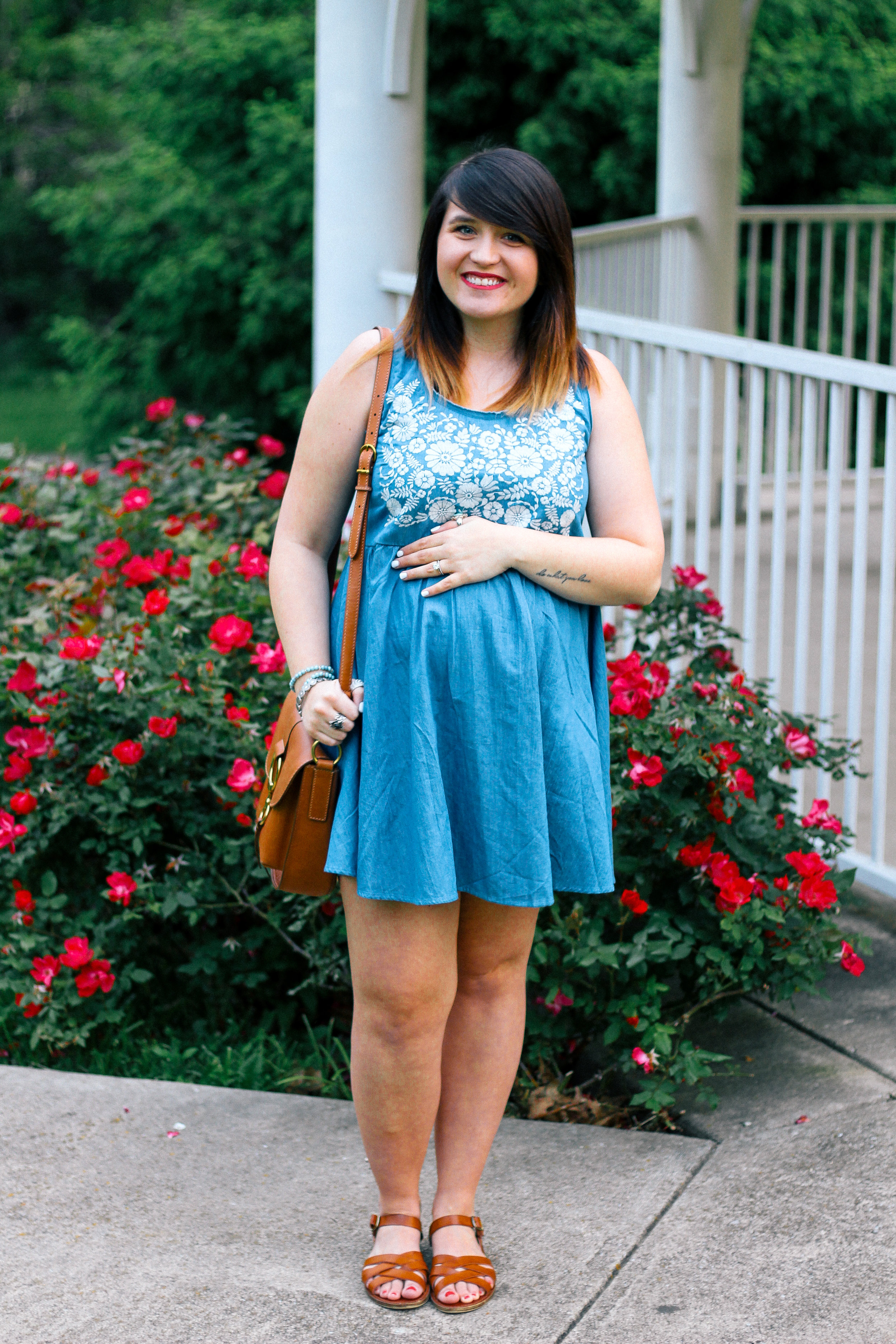 Embroidered Babydoll Chambray Dress Summer Style via www.chelceytate.com
