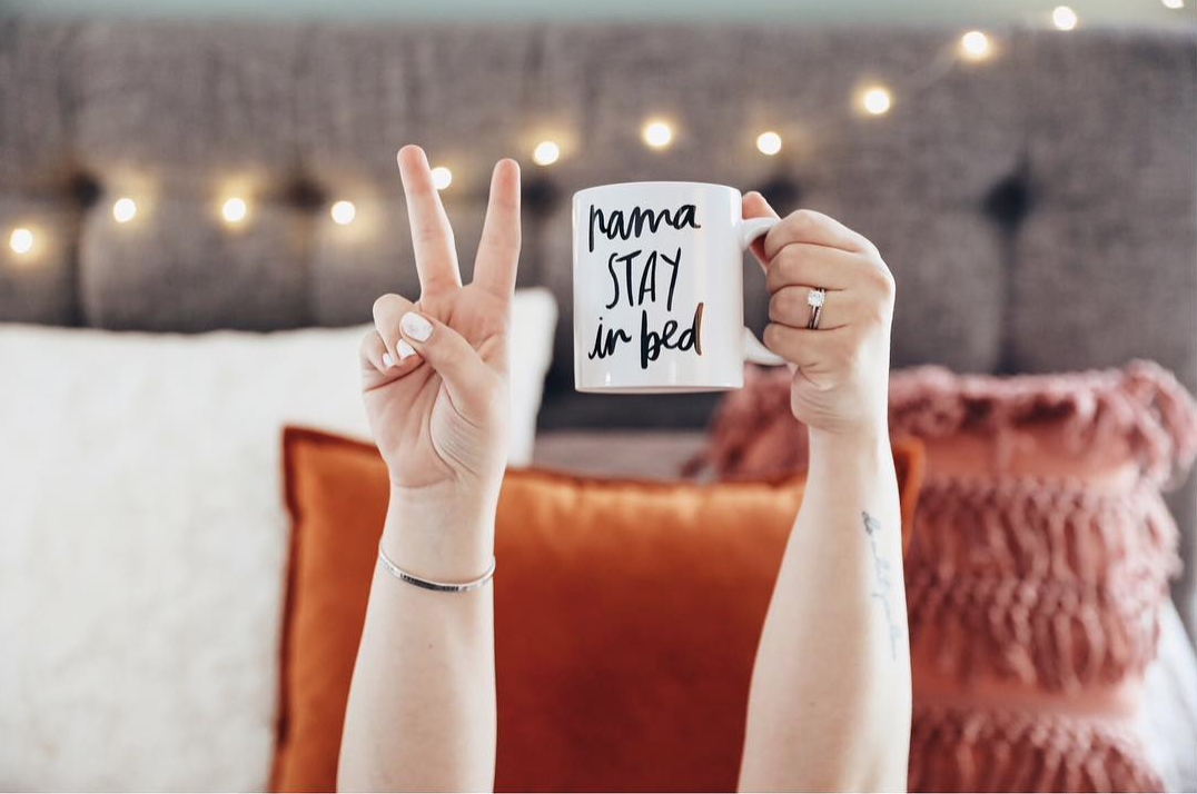 NamaSTAY In Bed Mug via hand lettering artist Chelcey tate