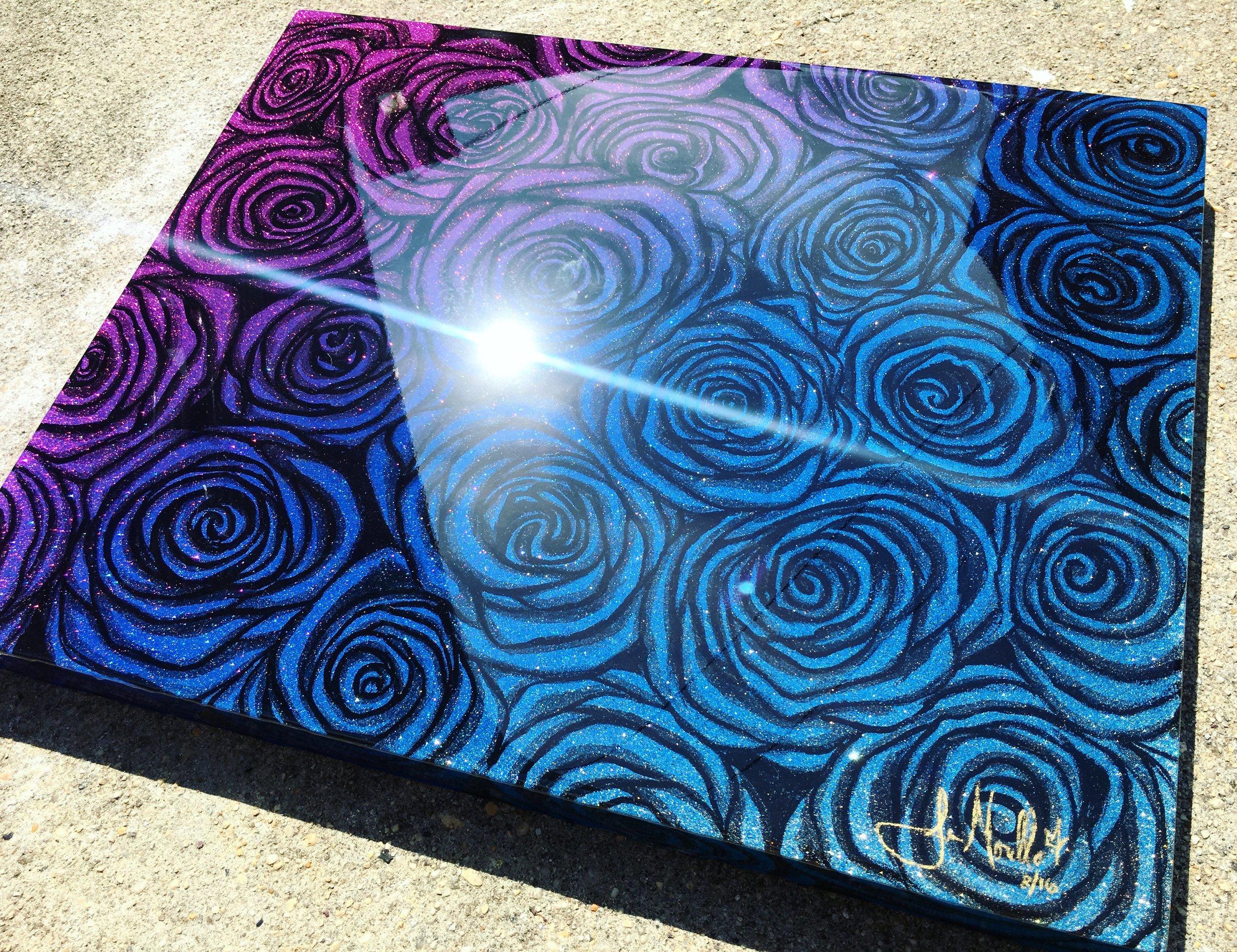 Aerosol, acrylic, and resin on hardboard