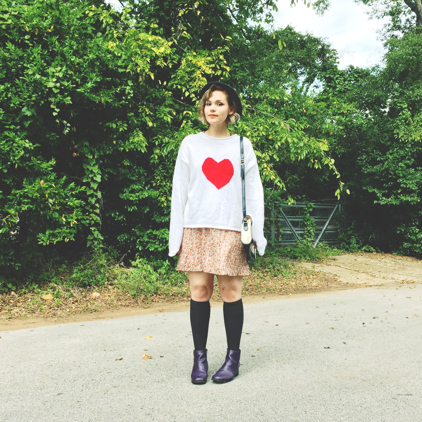 This is me frolicking in our new  Heart Pullover , literally pulled-over our  Floral Racerback Dress