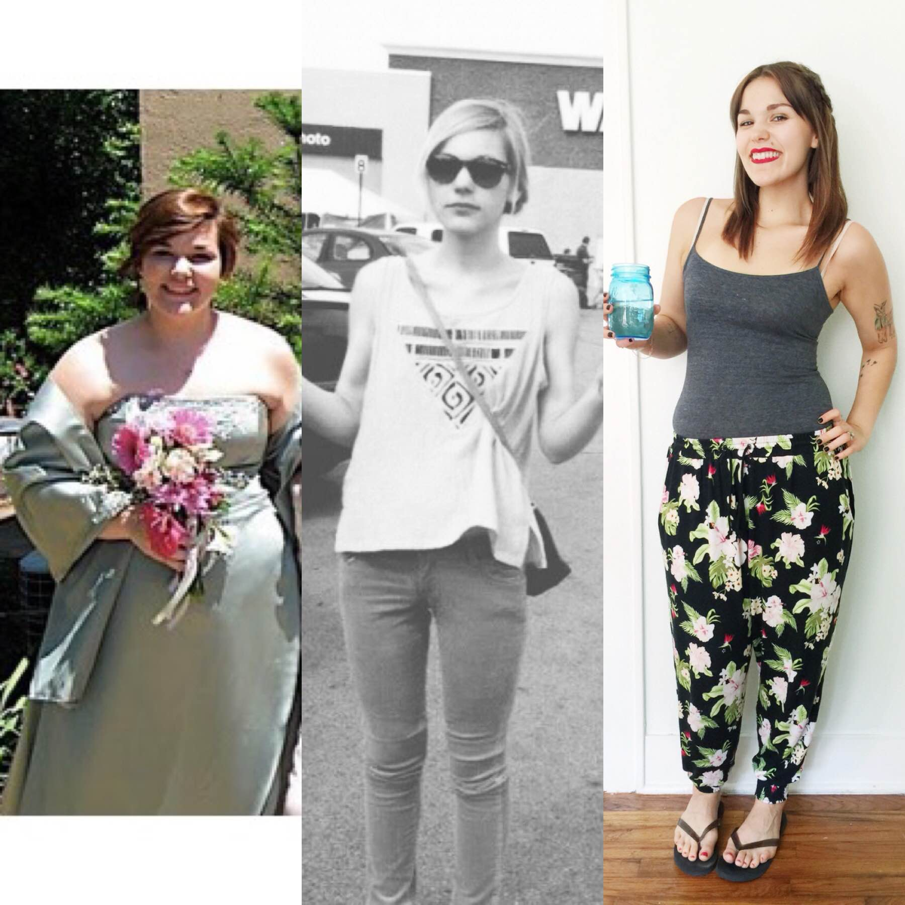 Left to right: 2009, I was fifteen and one of my heaviest weights (260ish?); middle, I was eighteen and my lowest weight (100ish); right, today cleaning the house with my husband. Twenty-one and who gives a f*ck how much I weigh?! I DON'T!
